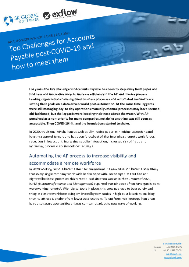 Top Challenges for Accounts Payable Post-COVID-19 and How to Meet Them