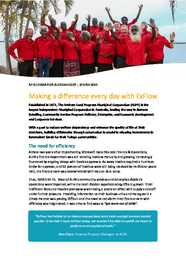 ALPA - Making a difference every day with ExFlow D365 FO