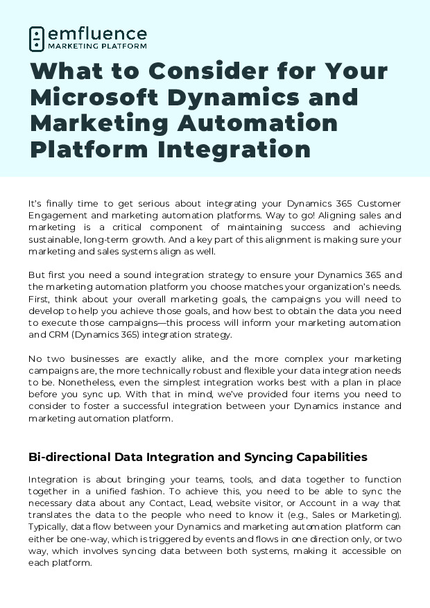 What to Consider for Your Microsoft Dynamics and Marketing Automation Platform Integration