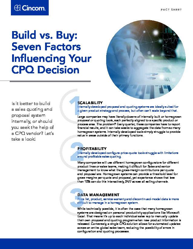 Build vs. Buy:  7 Factors  Influencing Your  CPQ Decision