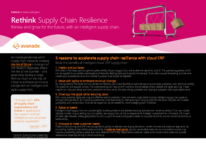 5 Reasons to Accelerate Supply Chain Resilience with Cloud ERP