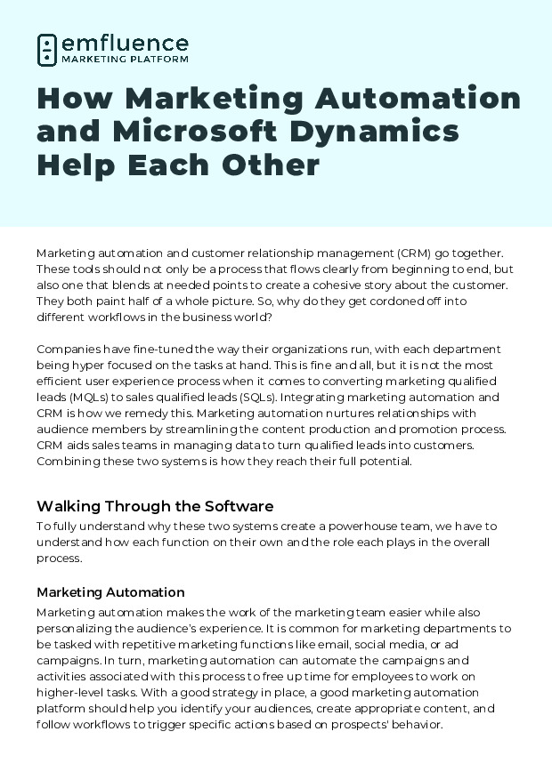 How Marketing Automation and Microsoft Dynamics Help Each Other