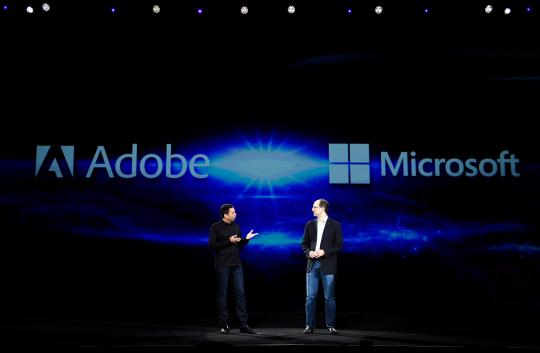 Adobe CTO, Abhay Parasnis (L), and Microsoft Executive Vice President, Scott Guthrie