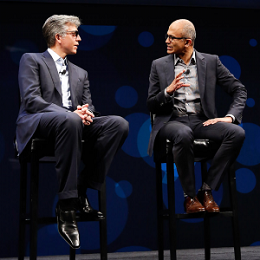 SAP CEO Bill McDermott (left) and Satya Nadella, CEO at Microsoft