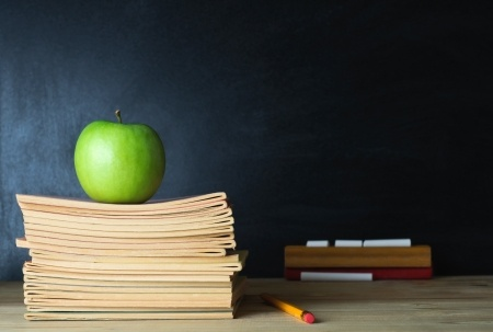 Apple on teacher's desk