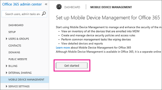 Mobile Device Management for Office 365