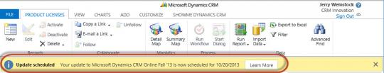 Microsoft Dynamics CRM Online upgrade notification