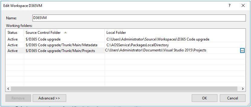 Edit Workspace D365VM
