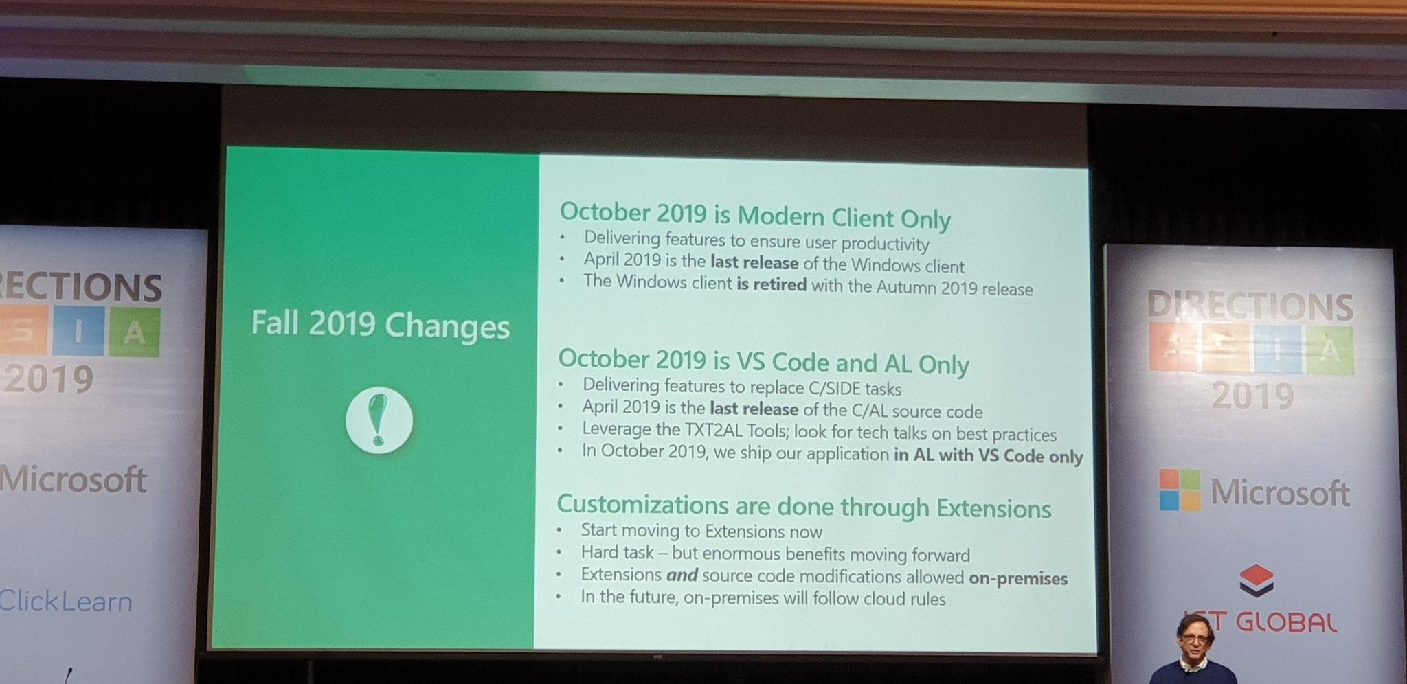 Microsoft Dynamics 365 Business Central Fall 2019 changes