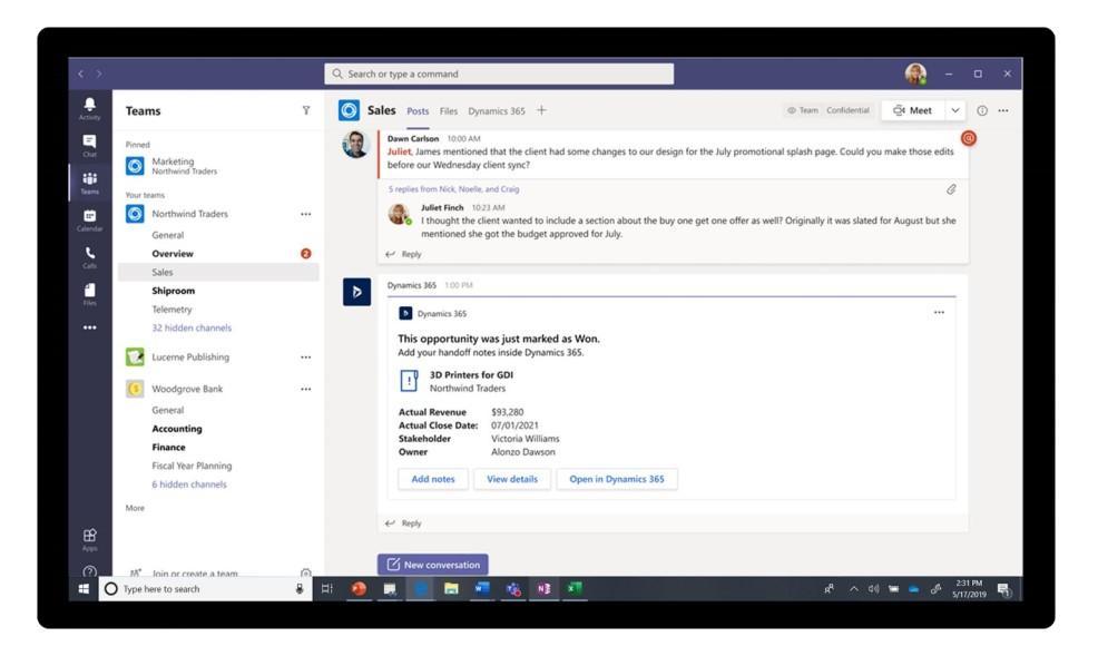 Dynamics 365 and Microsoft Teams integration