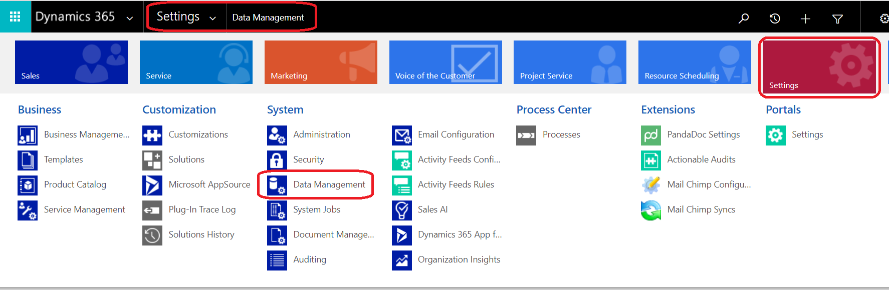 navigate_to_data_management_within_d365_crm_settings
