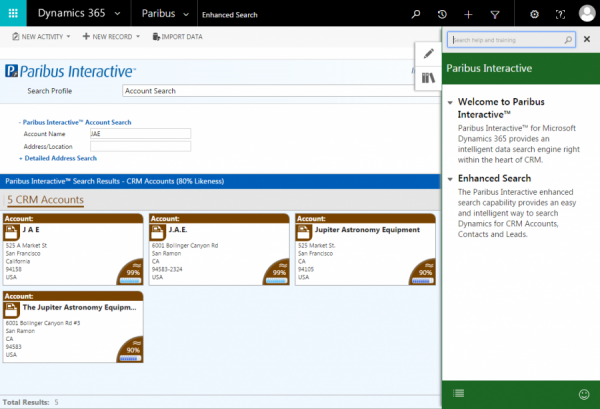 Paribus Interactive™ for Microsoft Dynamics 365