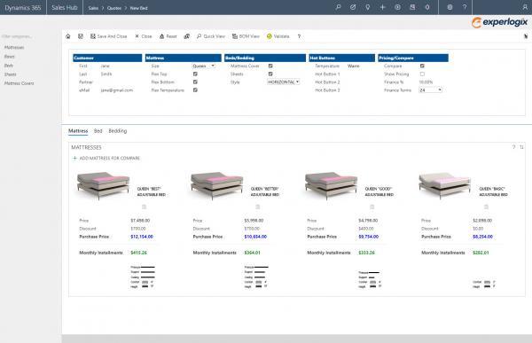 Experlogix CPQ screenshot for Microsoft Dynamics 365 - bed configurations