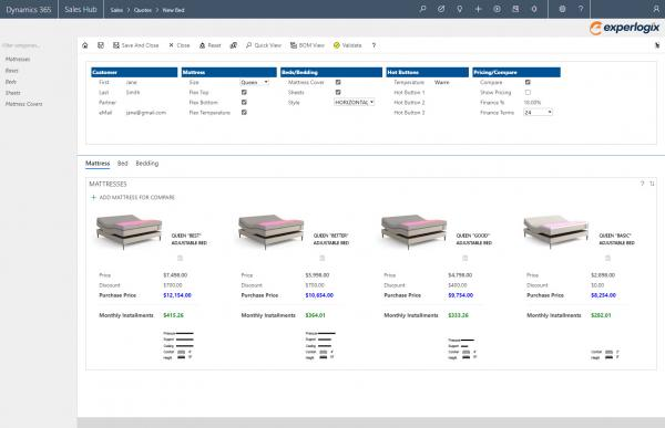 Experlogix CPQ screenshot for Microsoft Dynamics 365 - bed configurations
