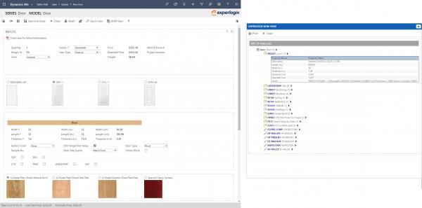 Experlogix CPQ screenshot for Microsoft Dynamics 365 - BOMs and Routings