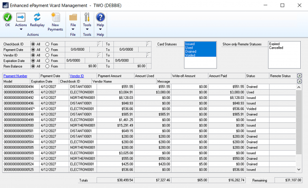 Intelligent cash mamangement - vcard management